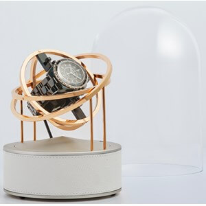 Bernard Favre Planet Gold & White leather watch winder