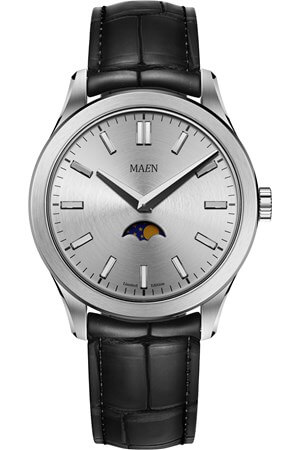 Maen Manhattan 40 Limited Moonphase Ice Grey Brushed